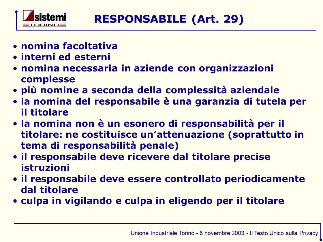 RESPONSABILE (Art. 29) nomina facoltativa interni ed esterni