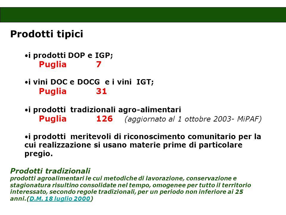 Prodotti tipici i prodotti DOP e IGP; Puglia 7