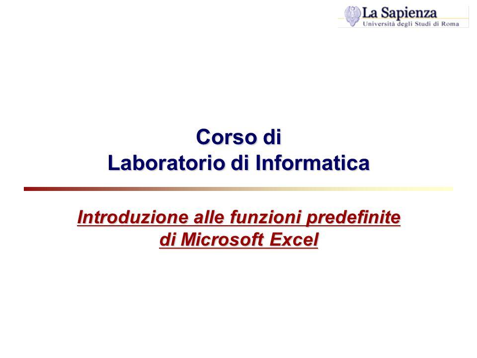 Corso di Laboratorio di Informatica