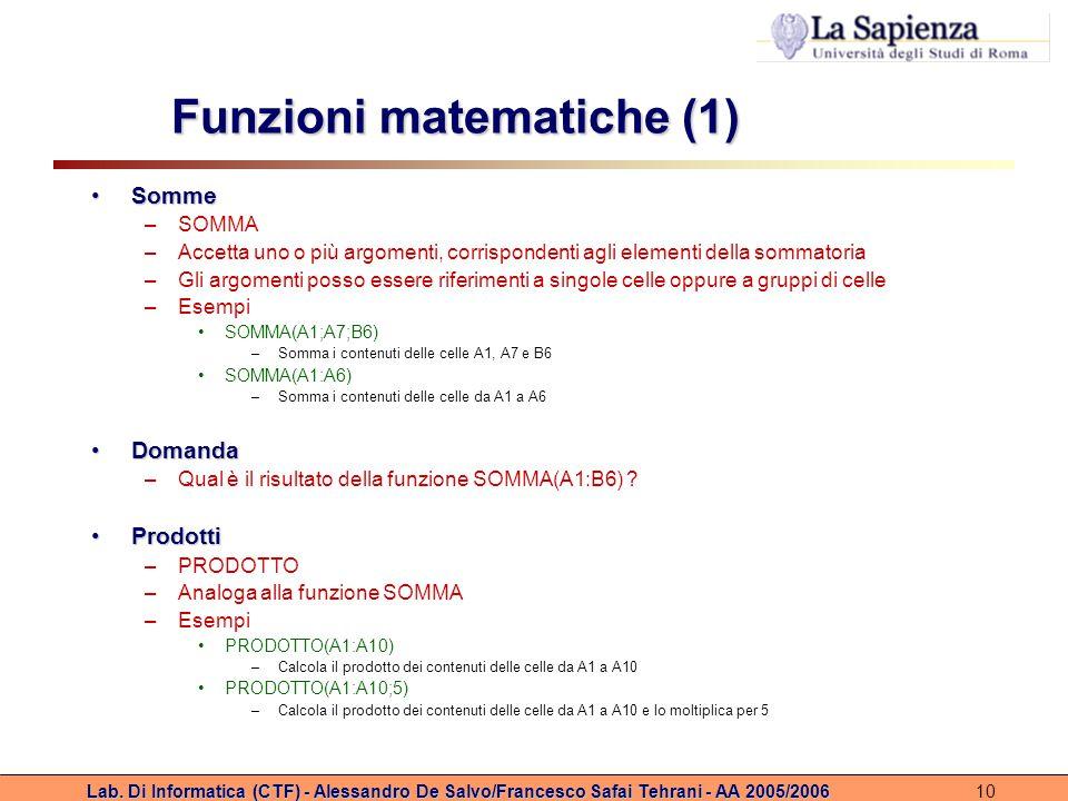 Funzioni matematiche (1)