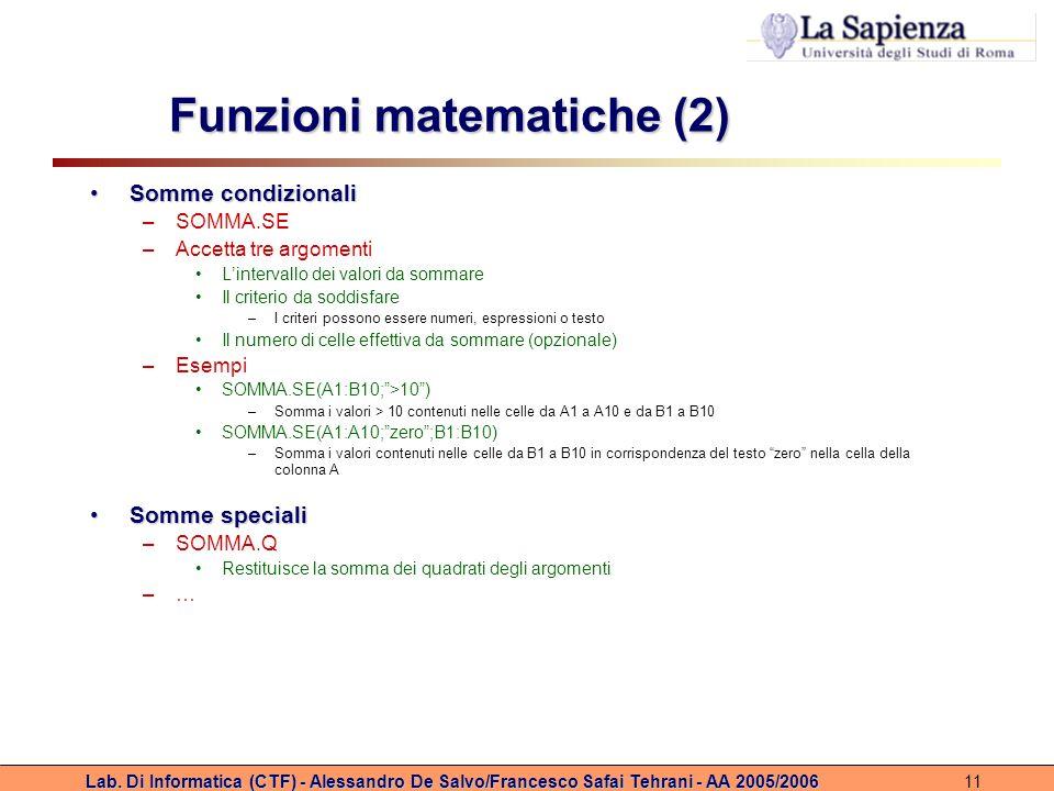 Funzioni matematiche (2)