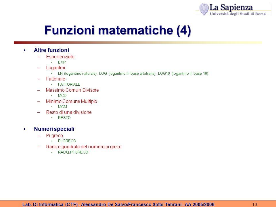 Funzioni matematiche (4)