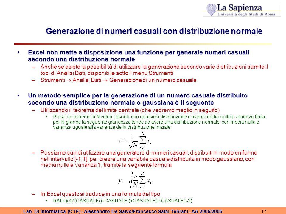 Generazione di numeri casuali con distribuzione normale