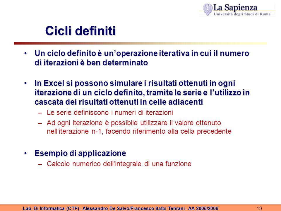 Cicli definiti Un ciclo definito è un'operazione iterativa in cui il numero di iterazioni è ben determinato.