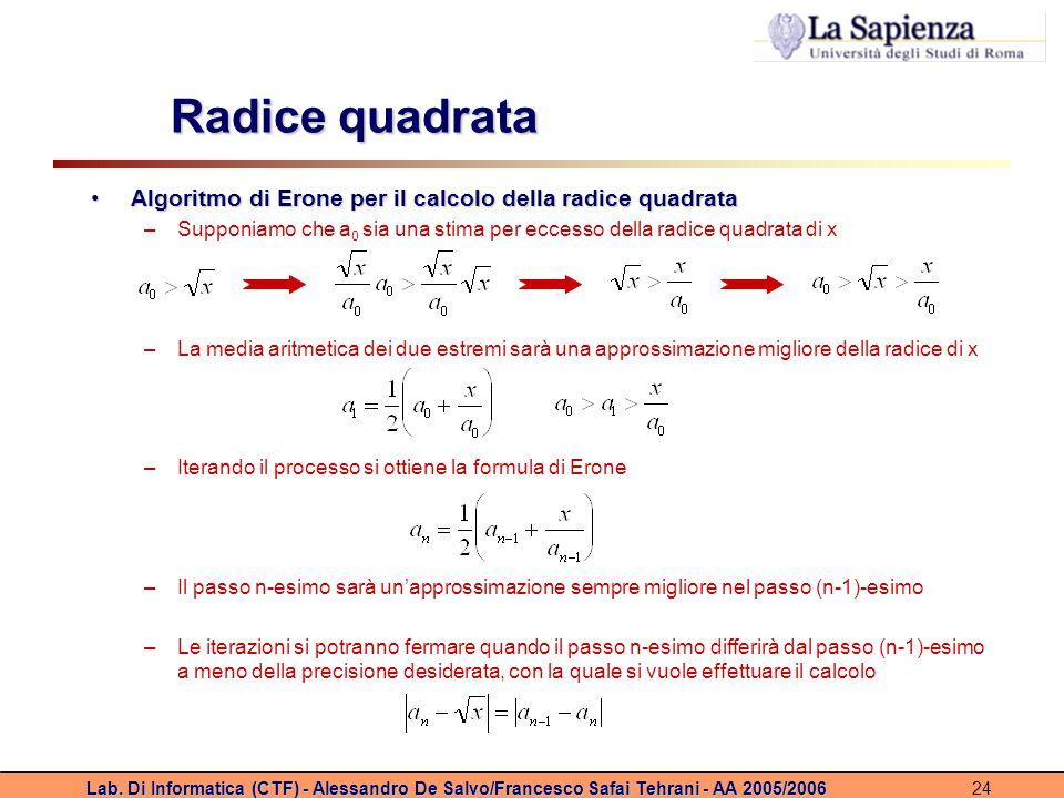 Radice quadrata Algoritmo di Erone per il calcolo della radice quadrata. Supponiamo che a0 sia una stima per eccesso della radice quadrata di x.