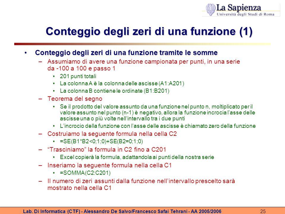 Conteggio degli zeri di una funzione (1)