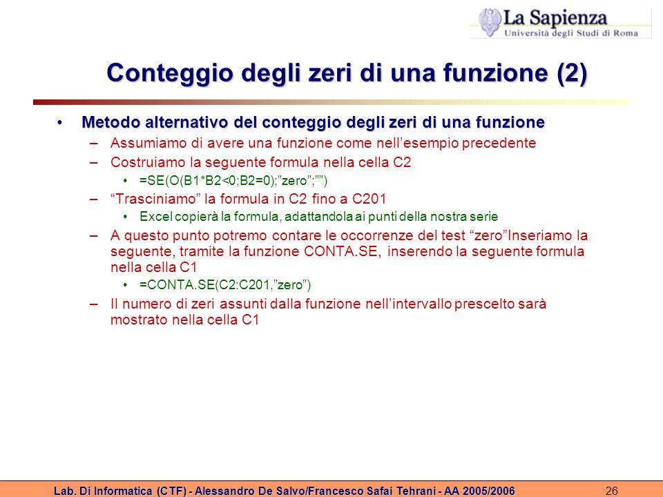 Conteggio degli zeri di una funzione (2)