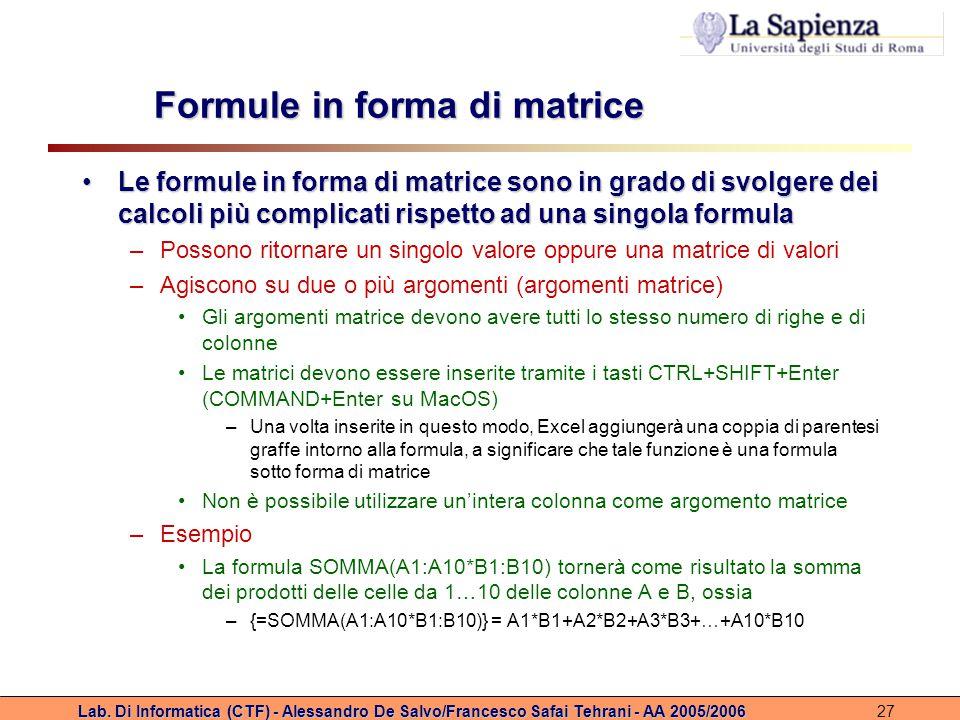 Formule in forma di matrice