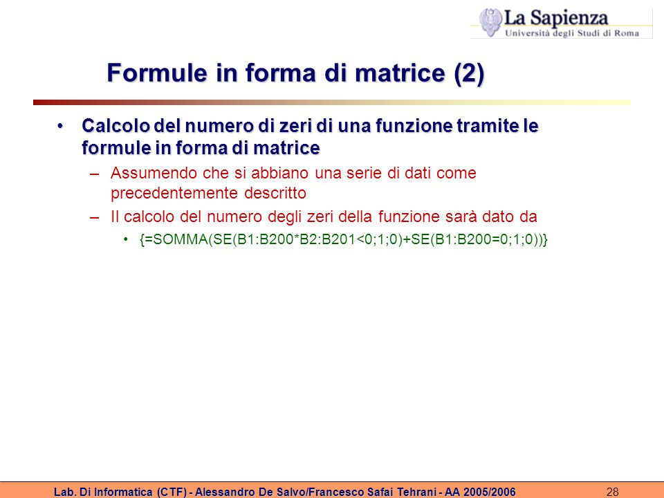 Formule in forma di matrice (2)