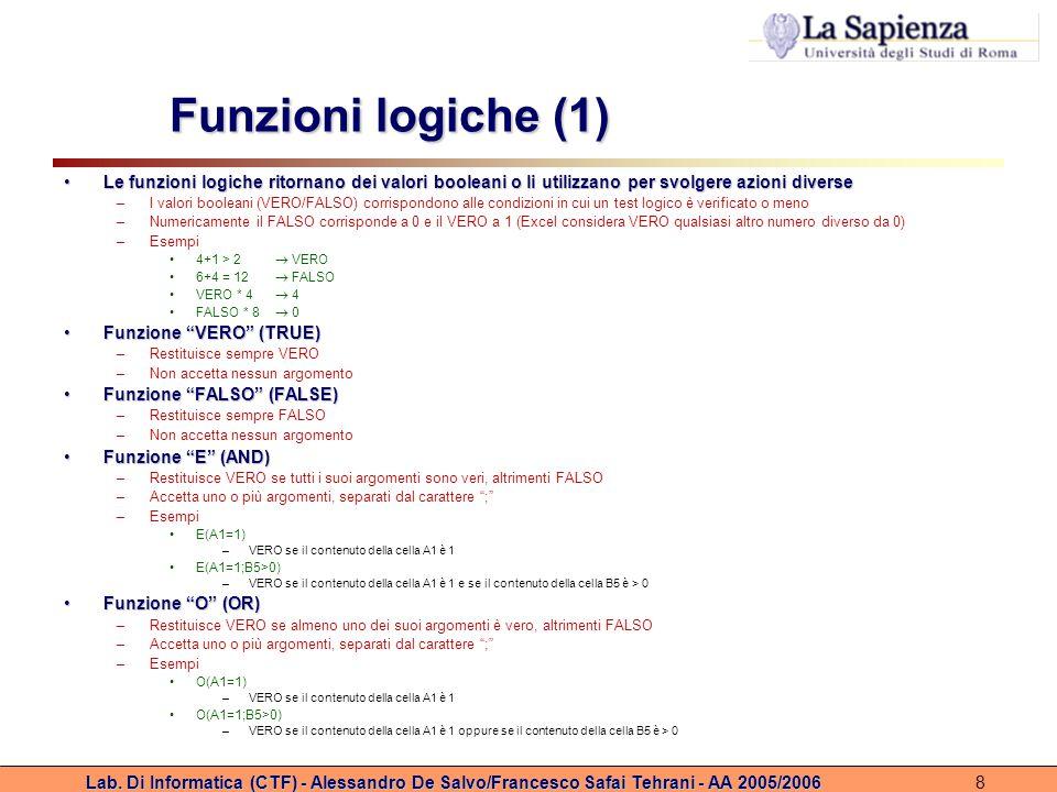 Funzioni logiche (1) Le funzioni logiche ritornano dei valori booleani o li utilizzano per svolgere azioni diverse.