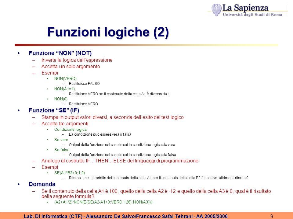 Funzioni logiche (2) Funzione NON (NOT) Funzione SE (IF) Domanda