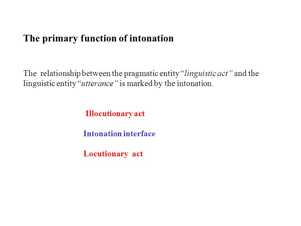 The primary function of intonation