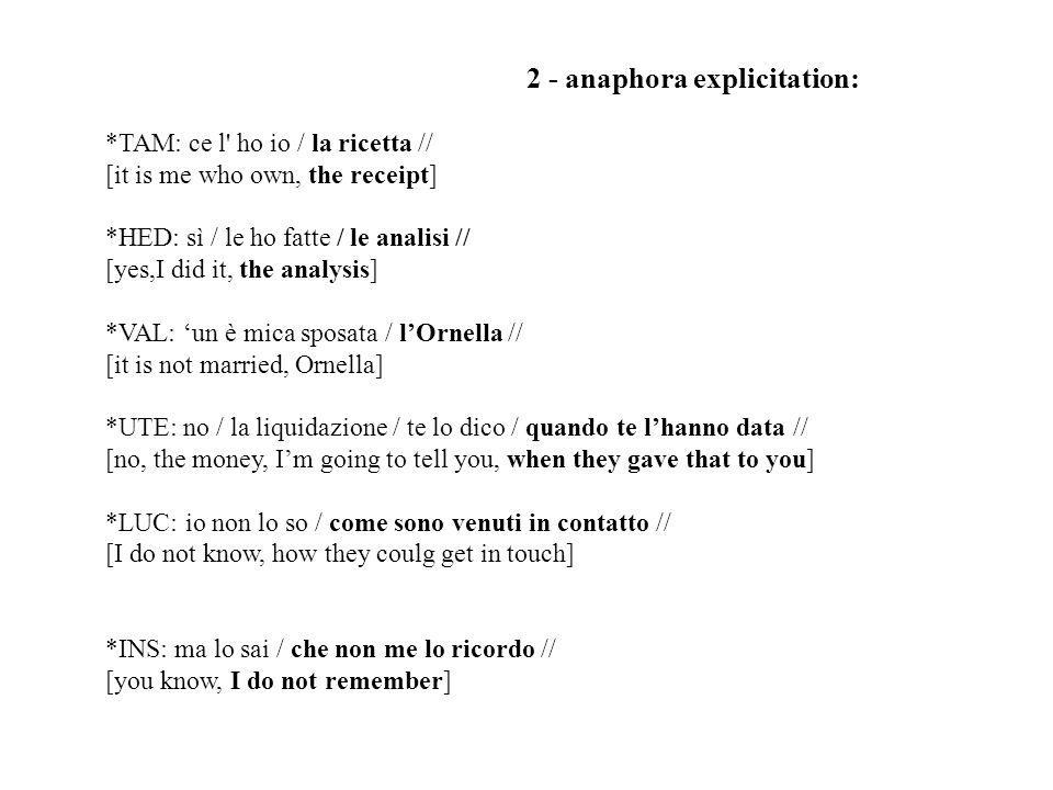 2 - anaphora explicitation: