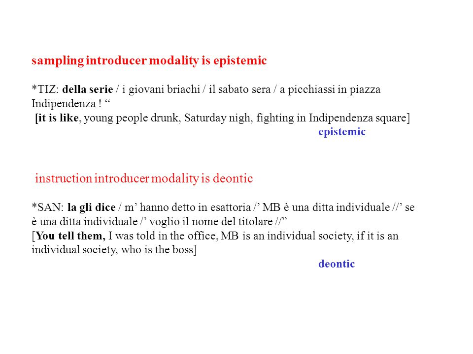 sampling introducer modality is epistemic