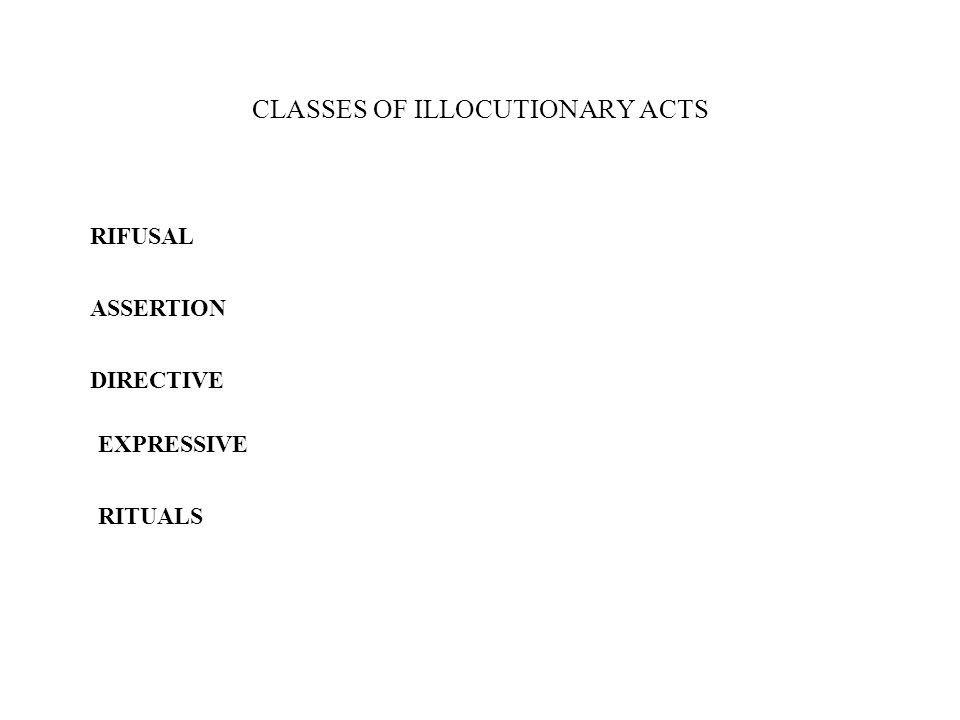 CLASSES OF ILLOCUTIONARY ACTS