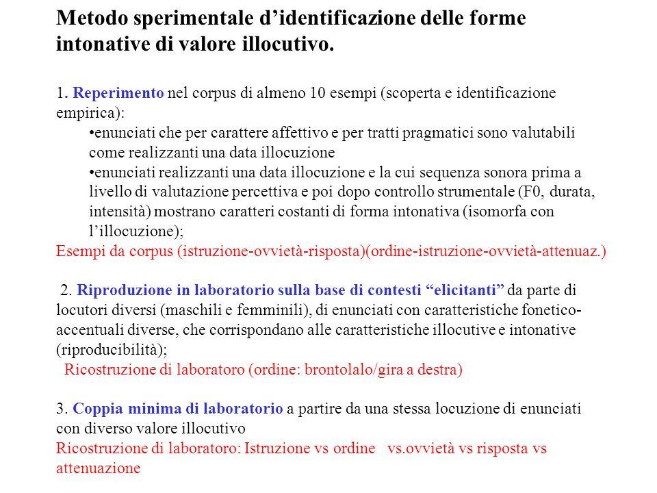 Metodo sperimentale d'identificazione delle forme intonative di valore illocutivo.