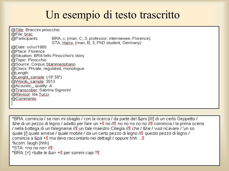 Un esempio di testo trascritto