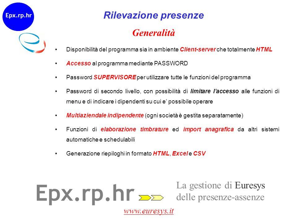 Epx.rp.hr Rilevazione presenze Generalità La gestione di Euresys