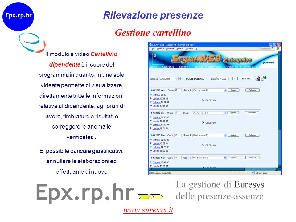 Epx.rp.hr Rilevazione presenze Gestione cartellino