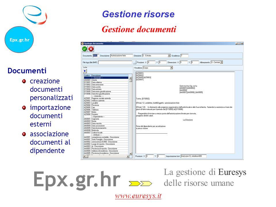 Epx.gr.hr Gestione risorse Gestione documenti La gestione di Euresys