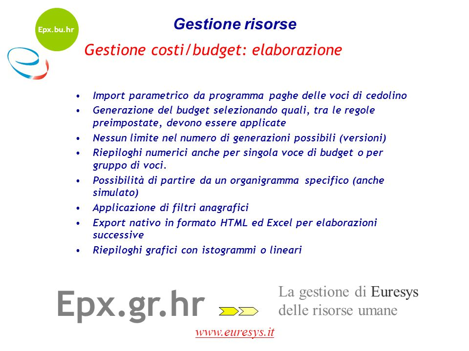 Epx.gr.hr Gestione risorse Gestione costi/budget: elaborazione