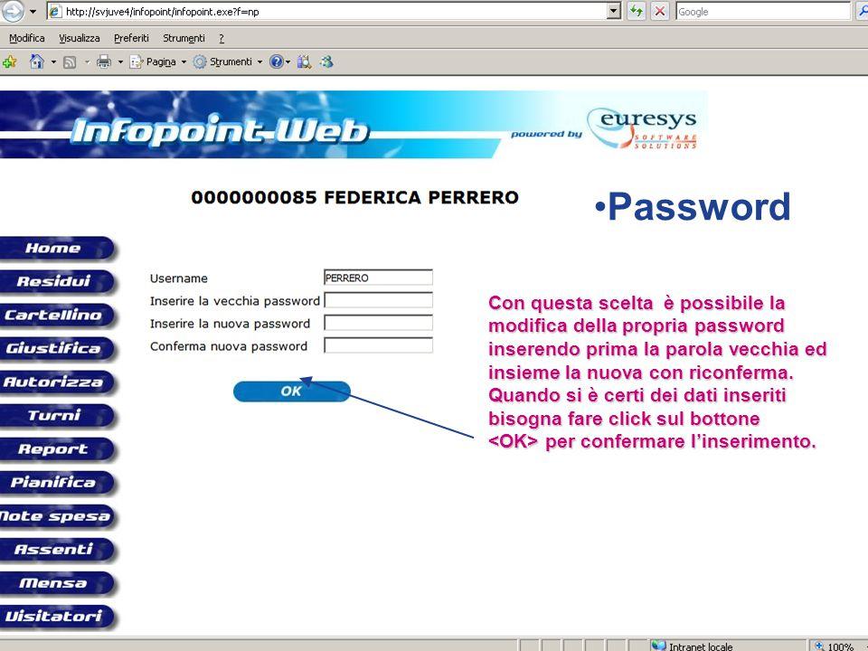 Password Con questa scelta è possibile la modifica della propria password inserendo prima la parola vecchia ed insieme la nuova con riconferma.