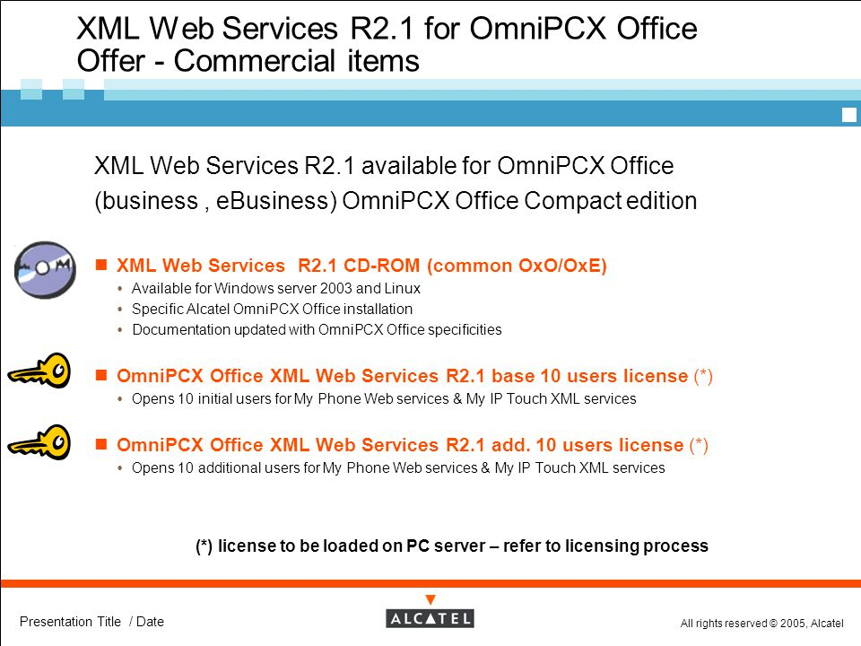 XML Web Services R2.1 for OmniPCX Office Offer - Commercial items
