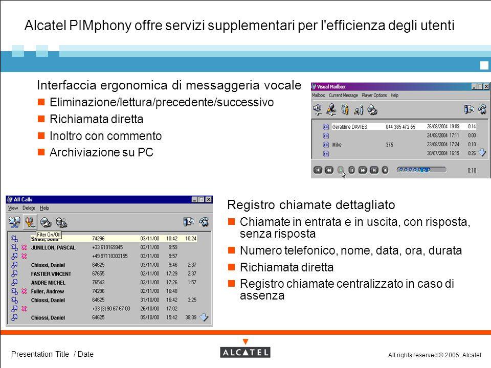 Alcatel PIMphony offre servizi supplementari per l efficienza degli utenti