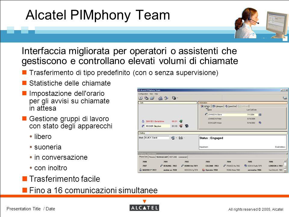 Alcatel PIMphony Team Interfaccia migliorata per operatori o assistenti che gestiscono e controllano elevati volumi di chiamate.