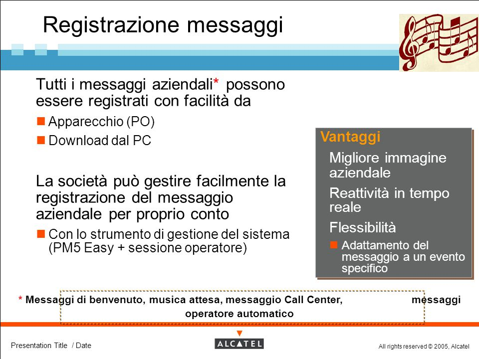 Registrazione messaggi