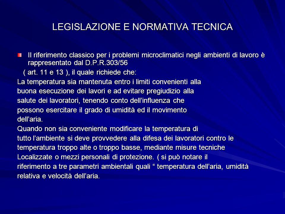 LEGISLAZIONE E NORMATIVA TECNICA