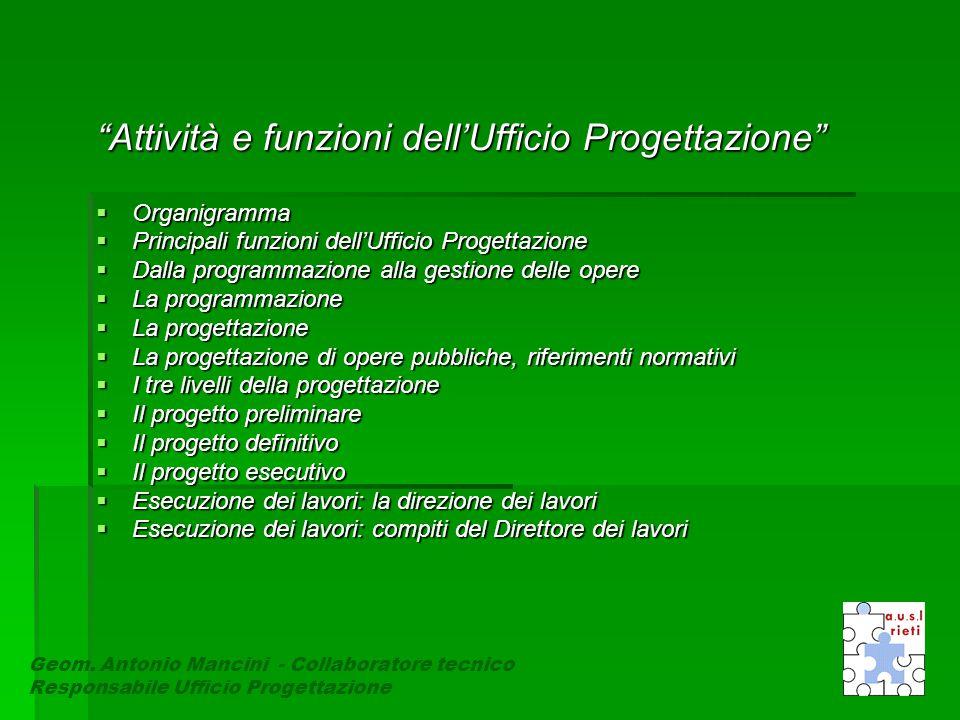 Attività e funzioni dell'Ufficio Progettazione