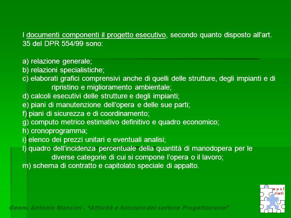 I documenti componenti il progetto esecutivo, secondo quanto disposto all'art. 35 del DPR 554/99 sono: