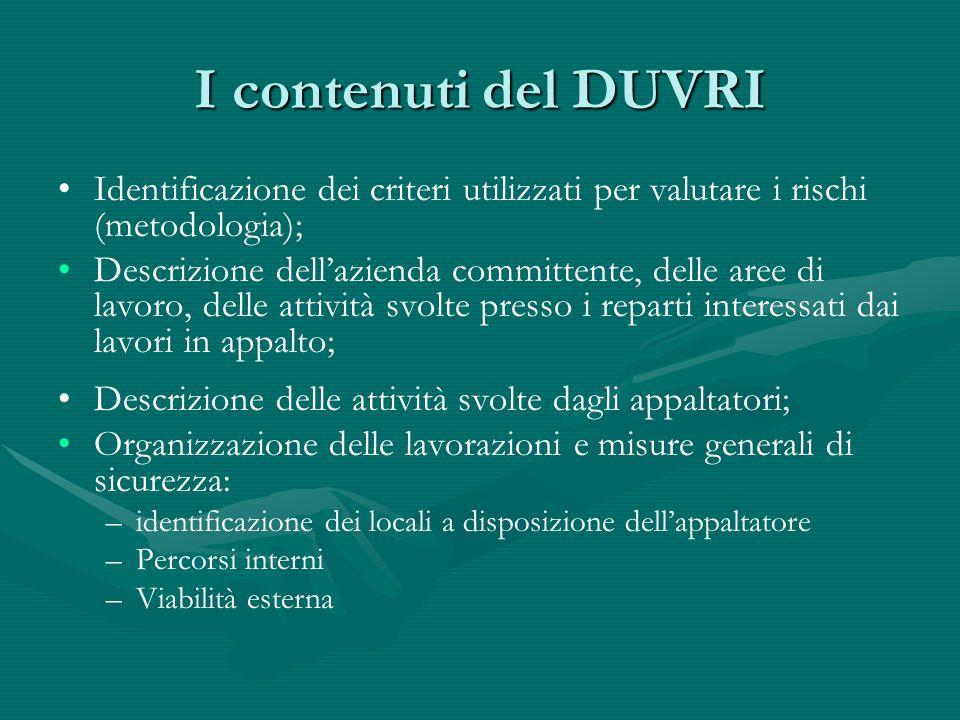 I contenuti del DUVRI Identificazione dei criteri utilizzati per valutare i rischi (metodologia);
