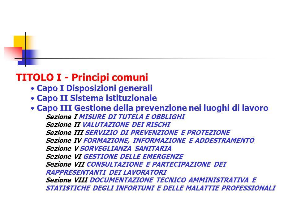 TITOLO I - Principi comuni