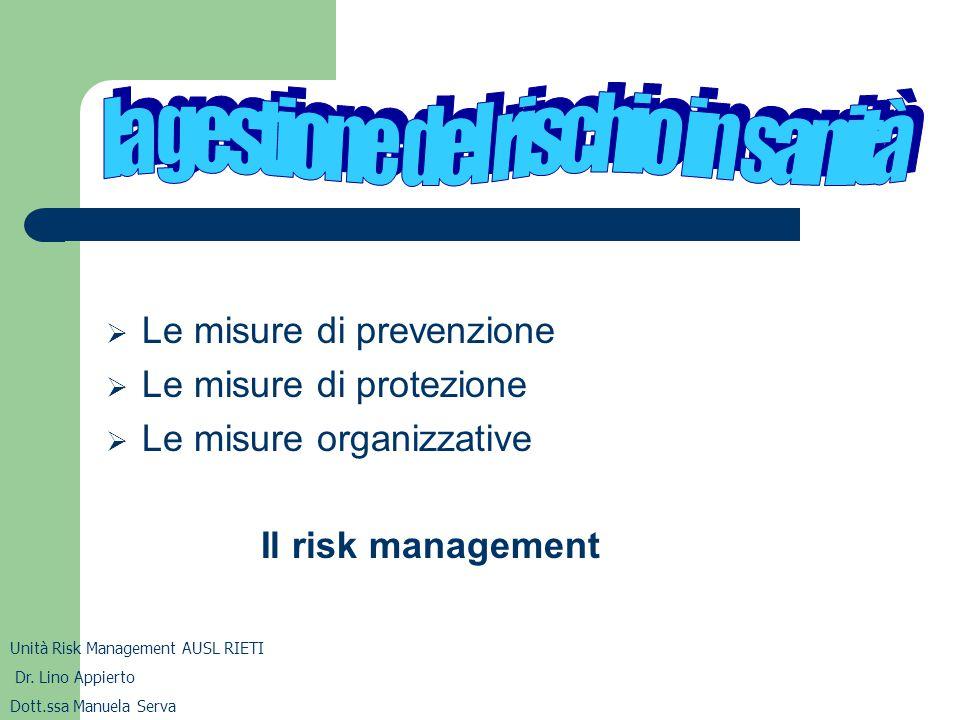 la gestione del rischio in sanità
