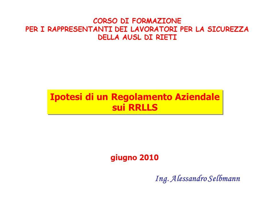 Ipotesi di un Regolamento Aziendale Ing. Alessandro Selbmann