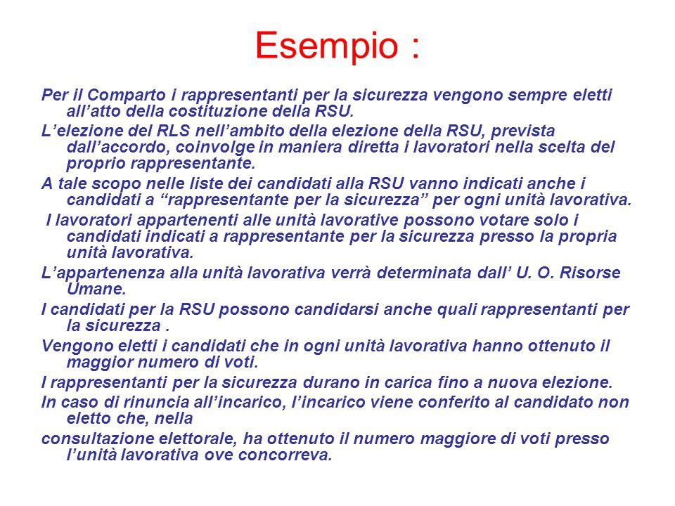 Esempio : Per il Comparto i rappresentanti per la sicurezza vengono sempre eletti all'atto della costituzione della RSU.
