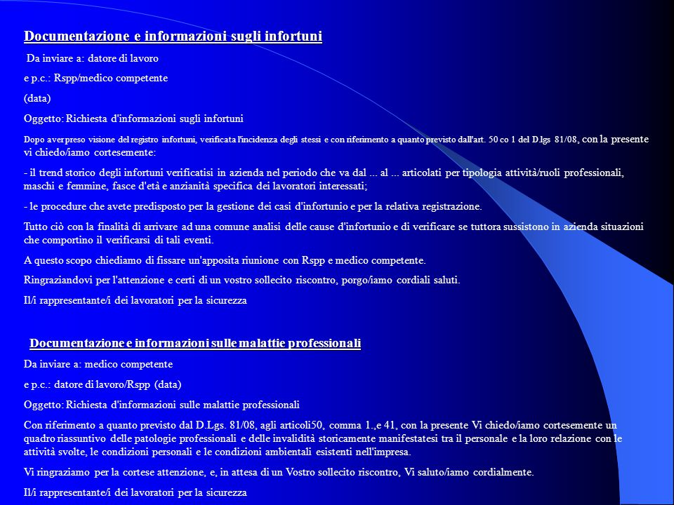 Documentazione e informazioni sugli infortuni