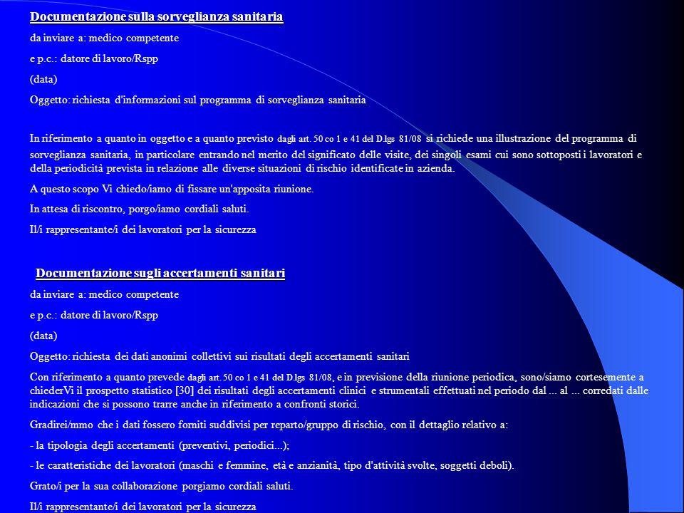 Documentazione sulla sorveglianza sanitaria