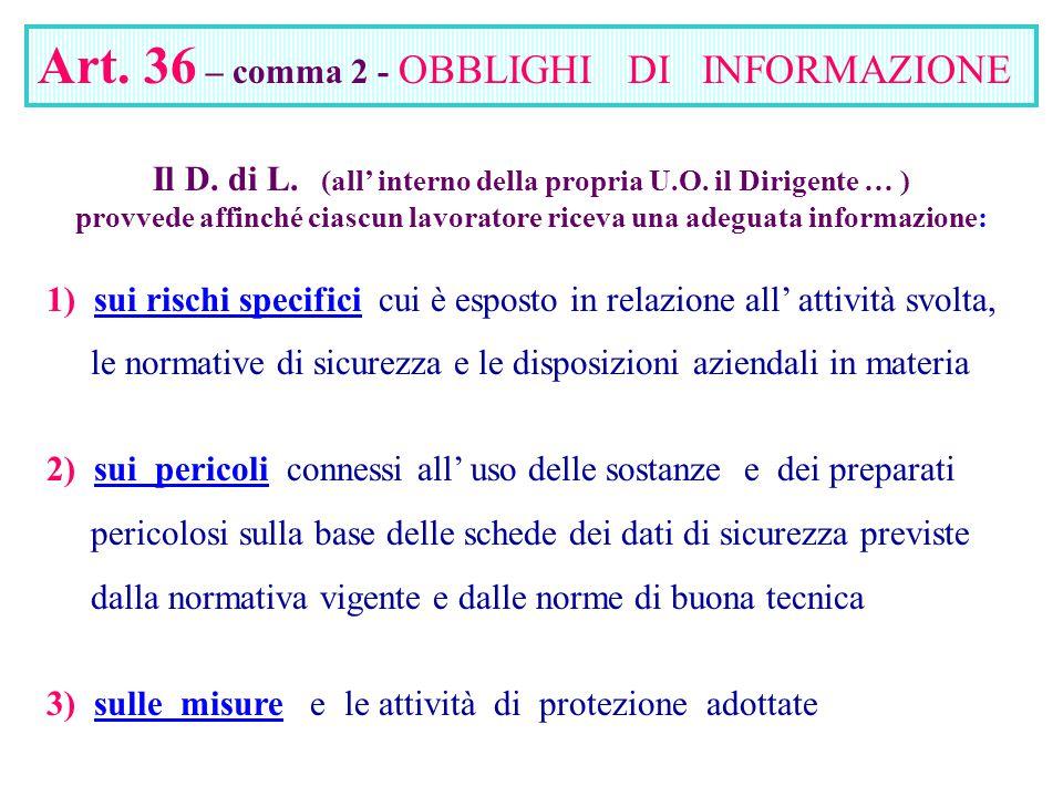 Art. 36 – comma 2 - OBBLIGHI DI INFORMAZIONE