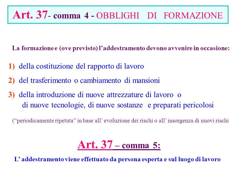 Art. 37 – comma 5: Art. 37- comma 4 - OBBLIGHI DI FORMAZIONE