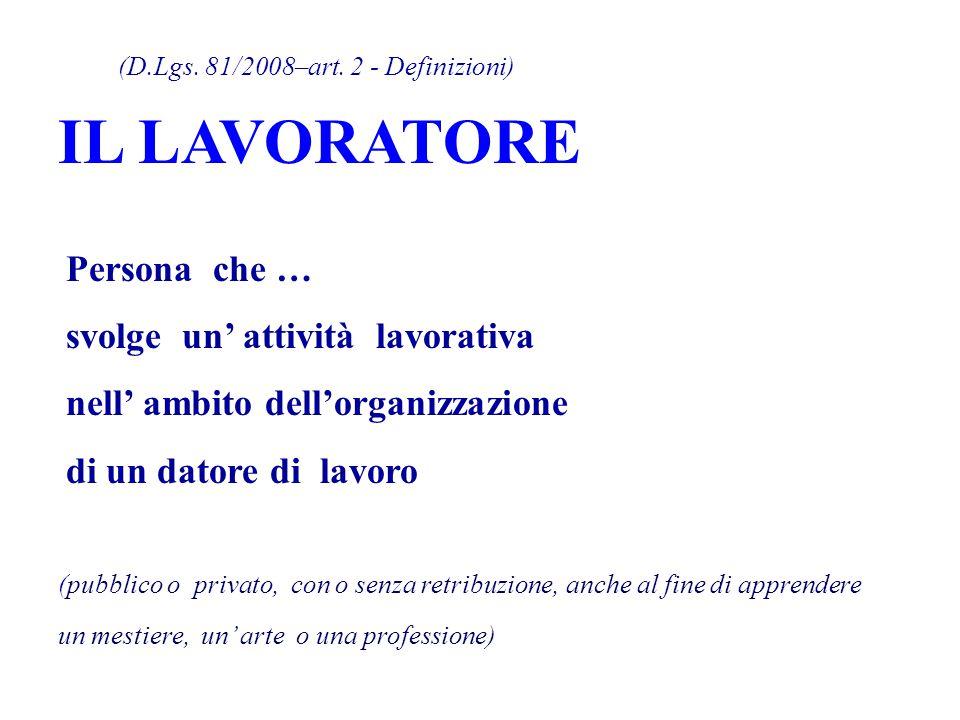 IL LAVORATORE (D.Lgs. 81/2008–art. 2 - Definizioni) Persona che …