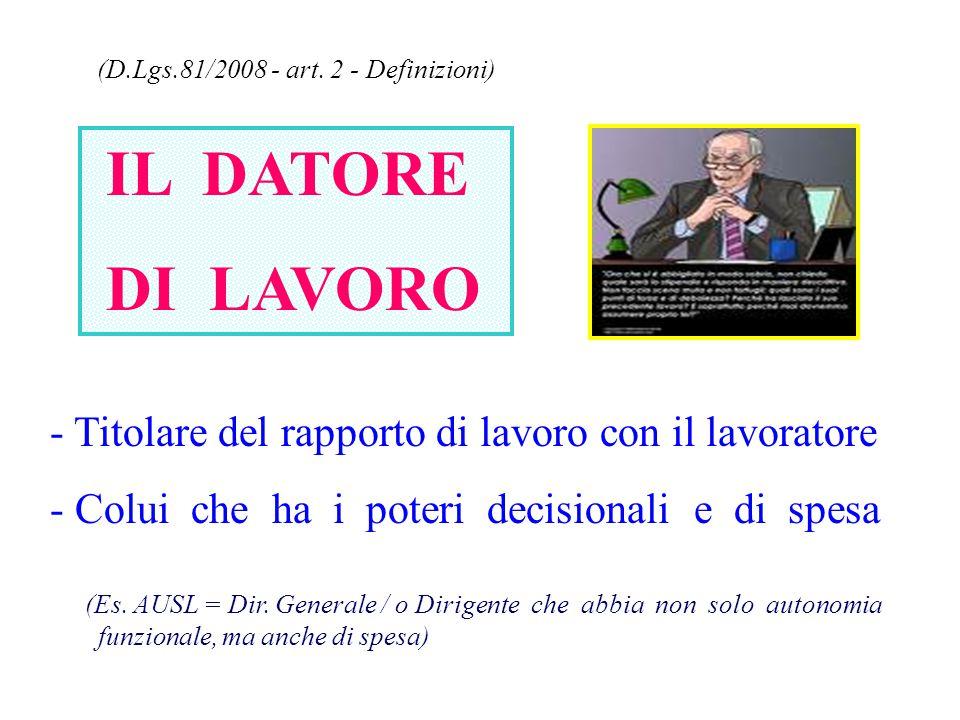 IL DATORE DI LAVORO (D.Lgs.81/2008 - art. 2 - Definizioni)