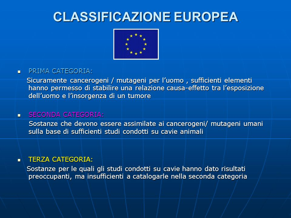 CLASSIFICAZIONE EUROPEA