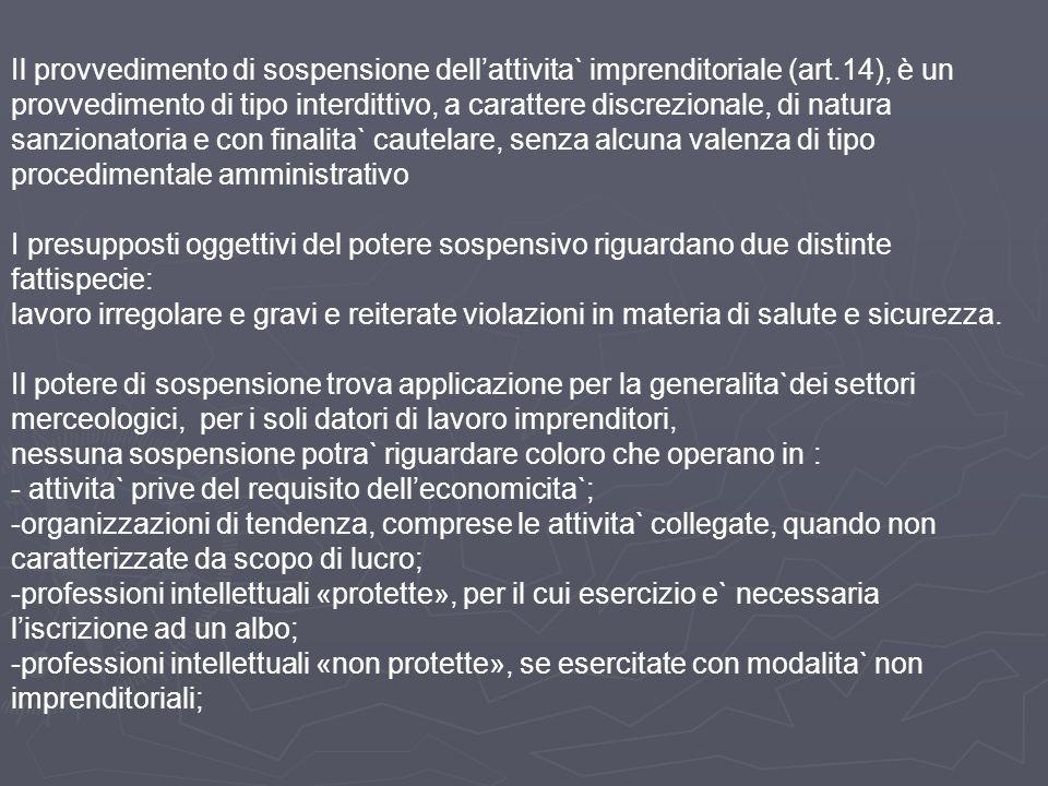 Il provvedimento di sospensione dell'attivita` imprenditoriale (art