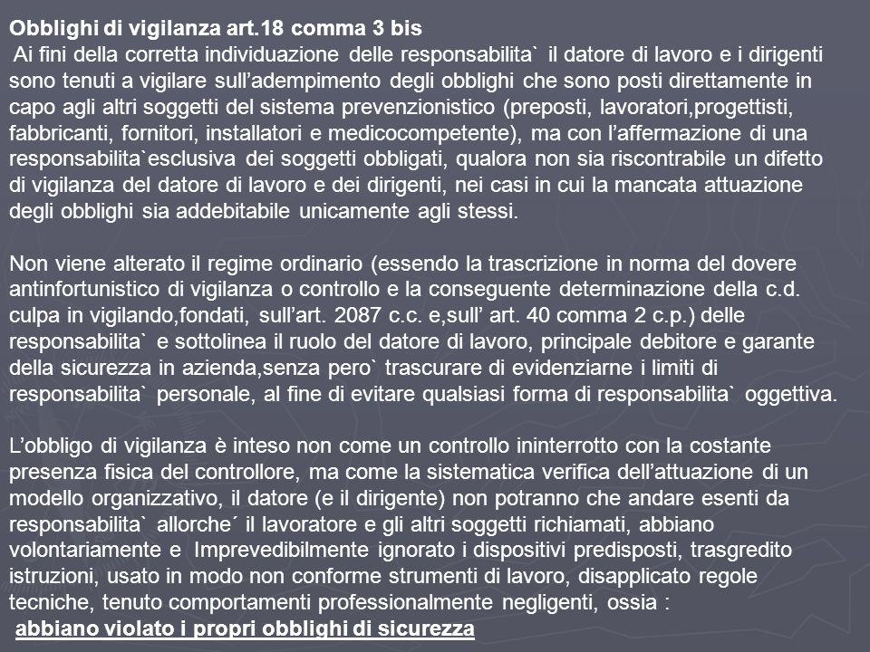 Obblighi di vigilanza art.18 comma 3 bis