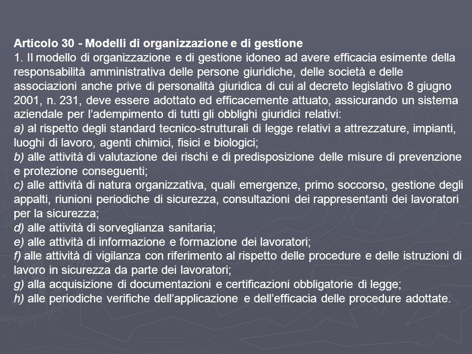 Articolo 30 - Modelli di organizzazione e di gestione