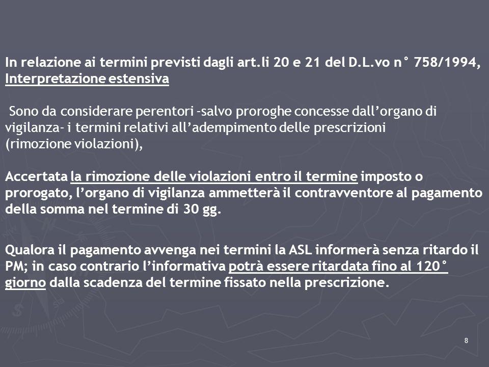 In relazione ai termini previsti dagli art. li 20 e 21 del D. L