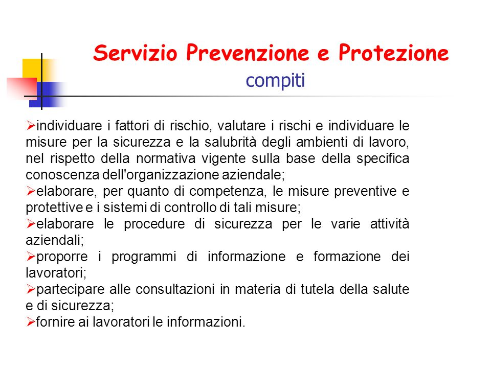Servizio Prevenzione e Protezione compiti